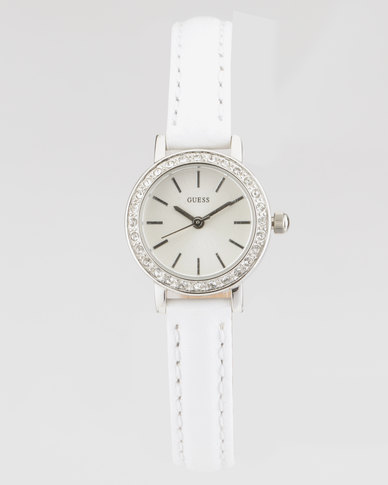 Guess Stella With White Strap Watch Silver-Plated