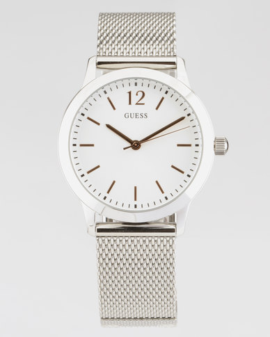 Guess Exchange Mesh Watch Silver-Plated