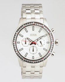 Guess Round Metal Strap Watch Silver-Plated