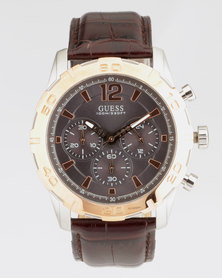 Guess Caliber Leather With Rose Gold Top Ring Watch Brown