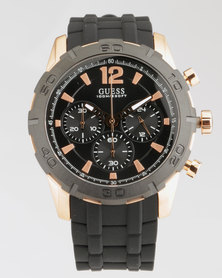 Guess Caliber With Black Synthetic Strap Watch Black/Rose Gold-Plated