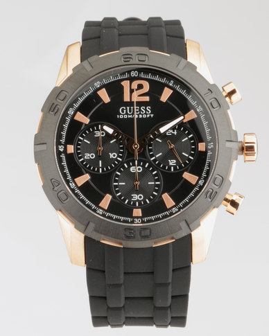Guess Caliber With Black Synthetic Strap Watch Black Rose Gold Plated