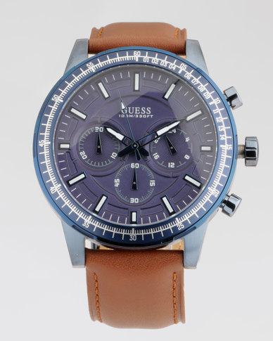 Guess Fuel With Luggage Leather Watch Blue/Tan