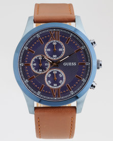 Guess Hudson With Laggage Leather Watch Blue/Tan