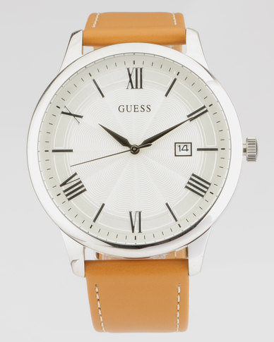 Guess Camegie With Camel Strap Watch Silver-Plated