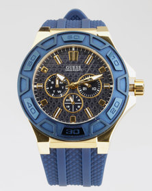 Guess Round Synthetic Strap Watch Blue