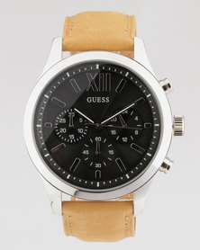 Guess Elevation With Leather Strap Watch Tan