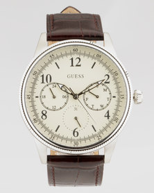 Guess Aviator With Parchment Dial & Leather Watch Brown
