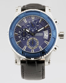Guess Pinnacle Round Strap Watch Black and Blue