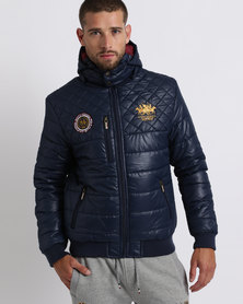 Santa Monica Polo Club Babel Quilted Puffer Jacket Navy
