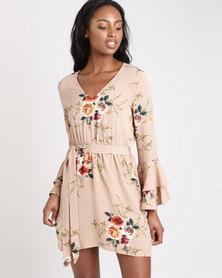 London Hub Fashion Floral Self Belt Frill Sleeve Mini Dress Multi