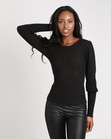 London Hub Fashion Skinny Rib Puff Sleeve Top Black
