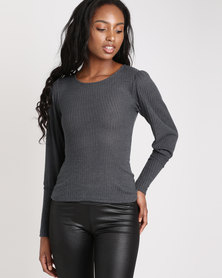 London Hub Fashion Skinny Rib Puff Sleeve Top Grey