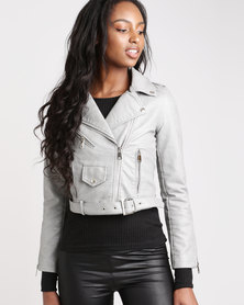 London Hub Fashion Leather Look Biker Jacket Grey