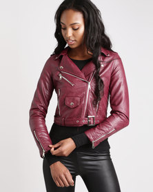 London Hub Fashion Leather Look Biker Jacket Wine