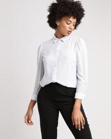 New Look Chiffon Long Sleeve Shirt Grey