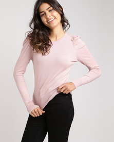 New Look Shell Puff Sleeve Jumper Pink