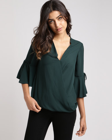 New Look Flared Sleeve Wrap Front Top Dark Green