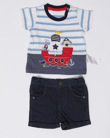London Hub Fashion Baby Tee & Shorts Set Multi