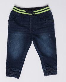 London Hub Fashion Boys Jogger Jeans Blue