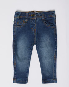 London Hub Fashion Girls Denim Jeans Blue