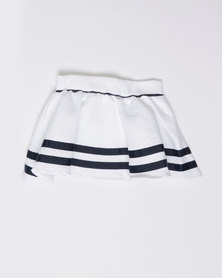 London Hub Fashion Girls Jersey Skirt White/Navy