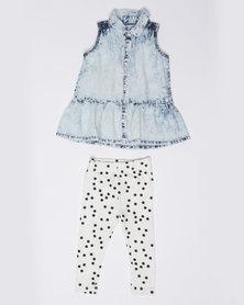 London Hub Fashion Girls Denim Shirt & Legging Set Multi