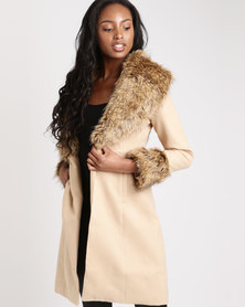 London Hub Fashion Faux Fur Collar & Sleeve Coat Camel