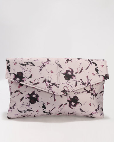 Madison Floral Print Clutch Bag Pink