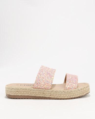 Utopia Glitter Espadrille Sandal Pink
