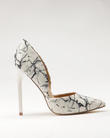 5a6353d8b7de1 Madison Leah Print Heels White/Black | Zando