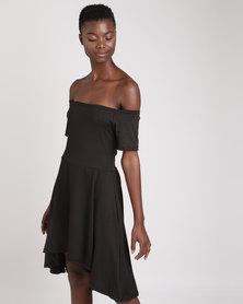 Wae West Hi-Lo Bardot Dress Black