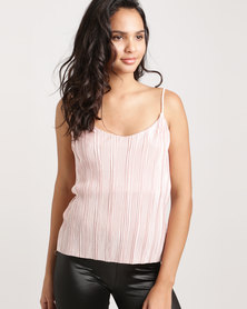 Glamzza Metallic Pleated Tank Pink
