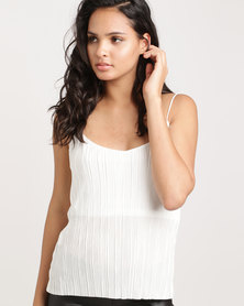 Glamzza Metallic Pleated Tank White