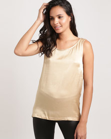 Glamzza Open Back Sleeveless Tank Gold