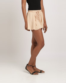 Glamzza Tie Waist Ruffled Shorts Peach