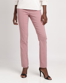 Queenspark Pleated Pocket Stretch Woven Trousers Pink