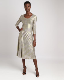 Queenspark Foil Fit & Flare Knit Dress Gold