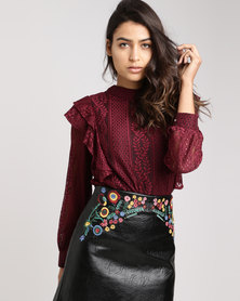 Utopia Frill Lace Top Burgundy