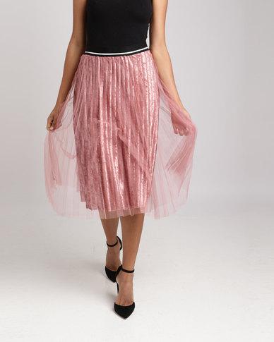Utopia Velour Skirt With Mesh Skirt Blush