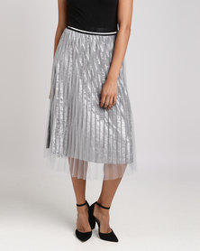 Utopia Velour Skirt With Mesh Silver