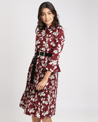 4da55977f1 Complete the look. Utopia Printed Dress With Belt Burgundy ...