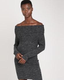 Brave Soul Ribbed Bardot Off The Shoulder Dress Black