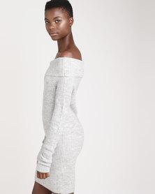Brave Soul Ribbed Bardot Off The Shoulder Dress Silver Grey