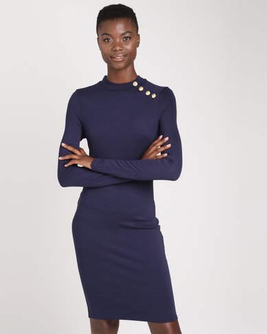 Brave Soul Long Sleeve Dress With Gold Buttons Midnight Blue