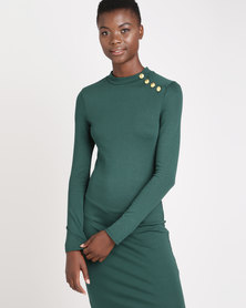 Brave Soul Long Sleeve Dress With Gold Buttons Forest Green