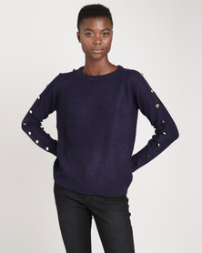 Brave Soul Jumper With Button Details On Sleeve Navy