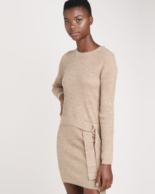 Brave Soul Ribbed Dress With D Ring Belt Camel
