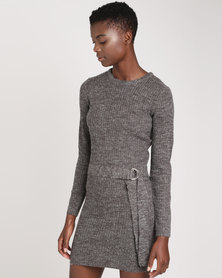 Brave Soul Ribbed Dress With D Ring Belt Charcoal