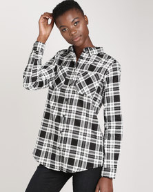 Brave Soul Printed Check Shirt With Two Pockets White/ Black